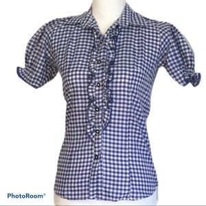 Blue & White Gingham Check Blouse